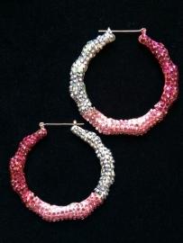 Pink & Silver Beaded Hoops