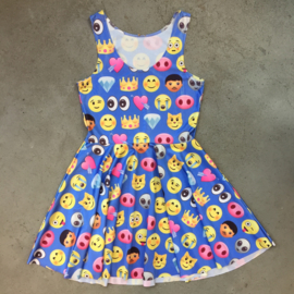 Blue Emoji Print Dress