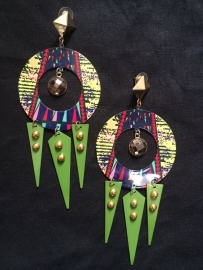 Green Multi-coloured Tribal Earrings