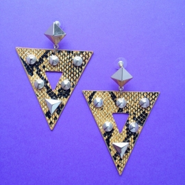 Snake Skin Triangle Earrings