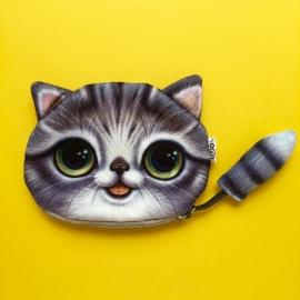 Dark Grey Happy Cat Wallet XL
