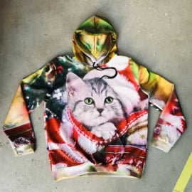 Christmas Cat Photoprint Hooded Sweater