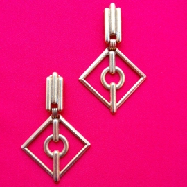 Square Gold Clip Earrings