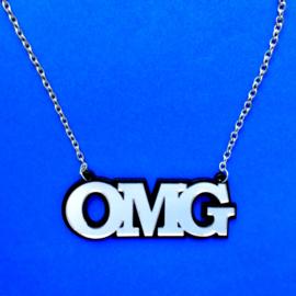 OMG Silver Acrylic Necklace
