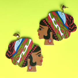 Wooden Lady Headwrap Earrings