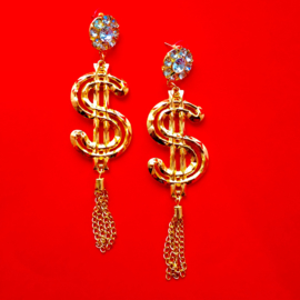 Gold and Diamond Dollar Earrings