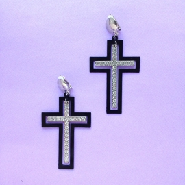 Black cross diamond clip earrings