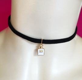 White n5 Perfume Bottle Choker Black