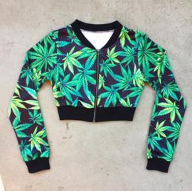 Weed Print  Cropped Jacket