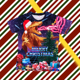 Merry Christmas T-shirt Dinosaur