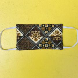 Facemask Brown Batik Squares Reversible