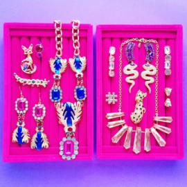 Purple Diamond Snake Earrings