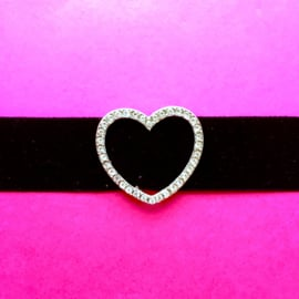 Velvet Diamond Heart Choker