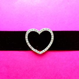 Velvet Diamond Heart Choker