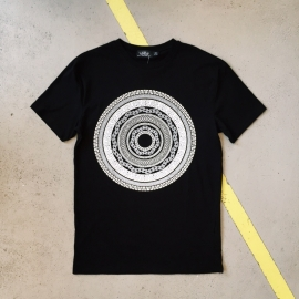 Black T-Shirt with White Circle Print Topman