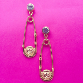 Lion Safetypin Gold Earrings with Gems