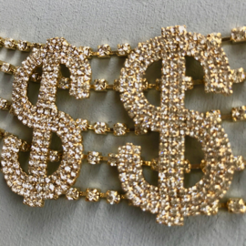 Dollar Diamond  And Gold Choker