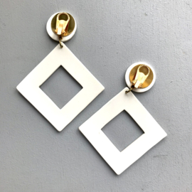 White Acrylic Clip Earrings With Gold Detail