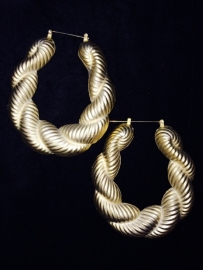 Bamboo Matte Gold Hoops Twisted  XL