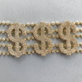 Dollar Diamond  And Gold Choker