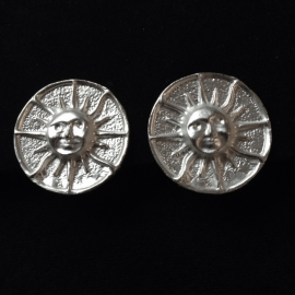 Sun Clip Earrings in Silver
