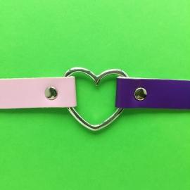 Choker Pink & Purple Silver Heart