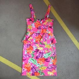 Pink Flower Peplum Dress
