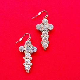 Diamond Cross Small Earrings