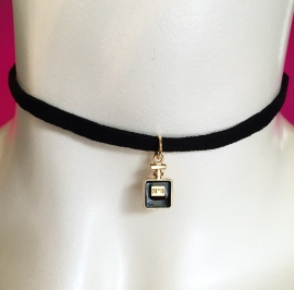 Black n5 Perfume Bottle Choker Black