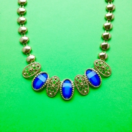Blue Diamonds Gold Necklace