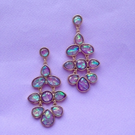 Irridescent  Lilac Floral Earrings