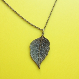 Leaf Bronze Long Necklace