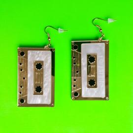 Gold Cassette Acrylic Earrings