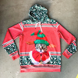 Christmas Cat Hooded Sweater