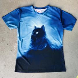 Blue Fluffy Cat T-shirt