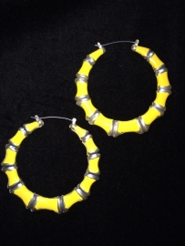 Silver & Yellow Bamboo Hoops
