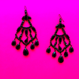 Black Bohemien Beads Earrings