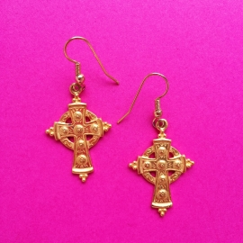 Small Cross Gold Earrings