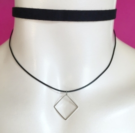 Double Square Choker Black
