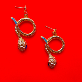 Snake Earrings Blue And Gold
