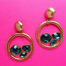 Gold/Green Diamond Hoops
