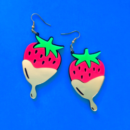 Pink and Gold Strawberry Acrylic Earrings