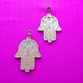 Hamsa acrylic silver/gold earrings