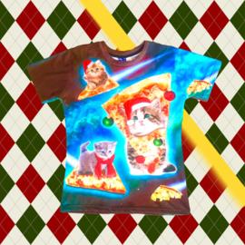 Christmas T-shirt Kitten Pizza
