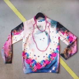 Trippy White Cat and Roses Sweater