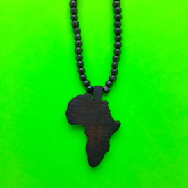 Black Wood Africa Long Necklace