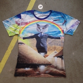 Rainbow Suit & Tie Cat T-Shirt