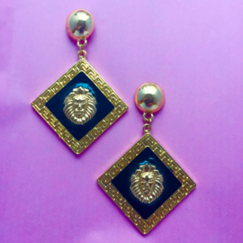 Lion Square Earrings In Black & Gold