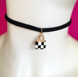 Black & White Handbag Choker Black