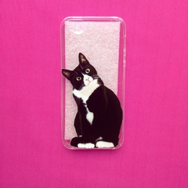 Black/white Cat Transparant Phone Case